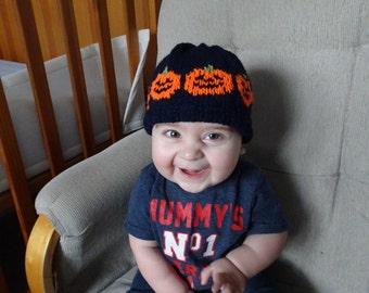 Spooky Pumpkin Hat Baby Knitting Pattern, newborn, toddler, knitting, Pumpkin hat