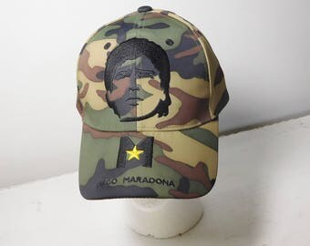 Diego Maradona Cap Camouflage with His Picture Vintage Never Worn Adjustable with Velcro Vintage Soccer