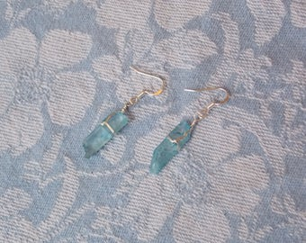 WIRE WRAPPED: Aqua Aura Crystal Sterling Silver Wire Wrapped Raw Quartz Crystal Earrings