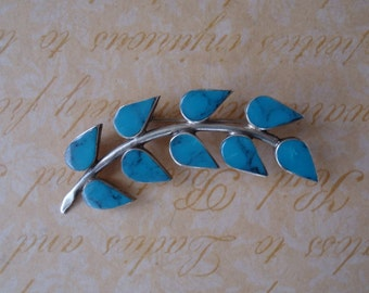 Turquoise and Sterling Silver Leaf Brooch