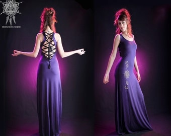 Mizuki maxi dress. Backless dress. Bohemian dress. Boho dress. Sacred Geometry. Goddess dress. Goddess long dress. Boho. Game of thrones