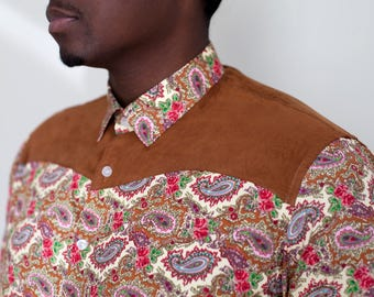 Cotton and Suade Paisley Button Down