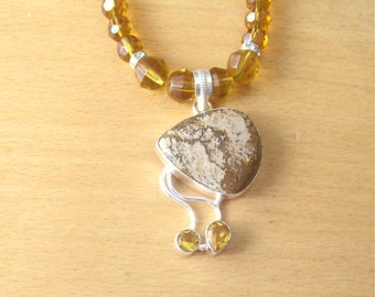Picture Jasper & Citrine Necklace, Citrine and Picture Jasper Pendant, Sterling Silver Pendant and Glass Bead Necklace