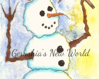 Winter's Feast - Salted Watercolor, Print, Snowman, Whimsical