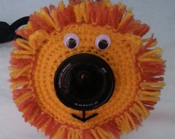 Crochet Lion Lens Buddy. 50-85mm Lens Diameter.  - PATTERN ONLY