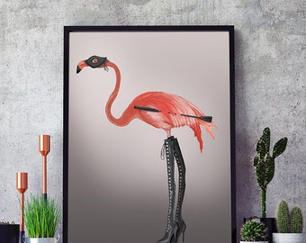 BDSM gift Kinky Boots - Pink Flamingo print flamingo wall art funny flamingo funny gift for friend dorm room decor unique gift for friend