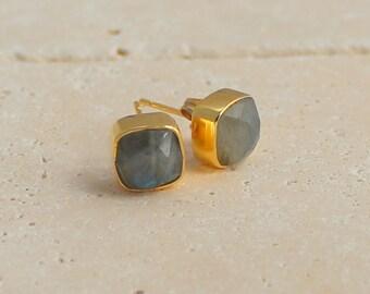 Labradorite Stud Earrings - Mothers day gift - Gold and Grey Earrings - Square Stud Earrings - Gemstone Stud Earrings - Cushion cut studs