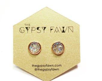 Champagne Small Druzy Galaxy Stud Earrings