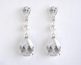 Theodora - Cubic Zirconia Wedding Earrings, Simple Chic Bridal Earrings, Crystal Teardrop Earrings, Pearl Bridal Jewelry, Bridesmaid Gifts