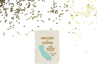 California {set of 10} Personalized Wedding Favor Recovery Bags Custom Hangover Bags  Los Angeles San Diego Palm Springs Hollywood
