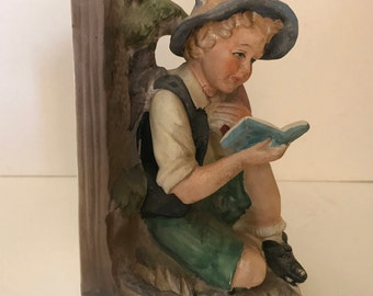 Vintage Chalkware Plaster Bookend- Child Reading a Book- Wonderful Condition