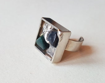 Large and chunky modernist silver plated ring, 1970s (F637)