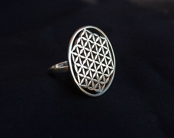 Flower of Life Silver Ring / sacred geometry ring