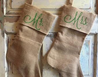 Burlap Christmas Stockings | Mr & Mrs stockings | Set of 2 | Mr Mrs Christmas | Christmas stocking | Christmas Wedding | Newlywed Christmas