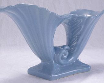 Abingdon Cornucopia  Pottery Vase Blue Glazed Flower Collectible Abingdon U.S.A. Art Pottery Double Cornucopia