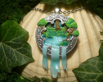 Amulet of the Sacred Lake - handsculpted Pendant OOAK