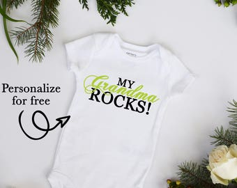 My GRANDMA Rocks Customize Color Baby Neutral Bodysuit Customize name and colors