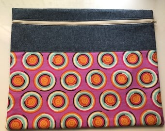 Project Bag - WIP Pouch - Pink Circles