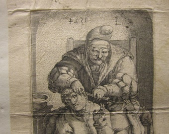 Original 17th Century Jan Hamensz. Muller - A Surgeon Performing An Operation After Lucas Van Leyden