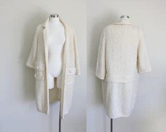 1960s Long Knit Cardigan   Open Front Cardigan   Cream Cardigan   Mohair Cardigan   Buffum's