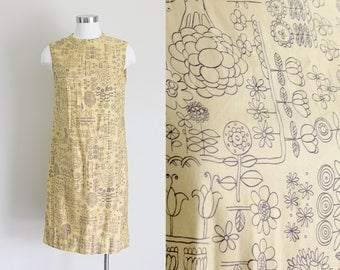 1960s Novelty Print Dress | Shift Dress | Yellow Floral Dress | Botanical Print | Small