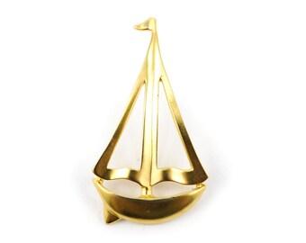 Vintage Sail Boat Brooch, Matte Gold Tone