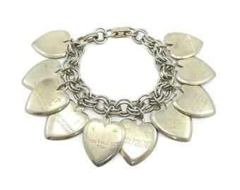 Vintage Ten Commandments Bracelet, Heart Charms, Light Gold Tone, Religious Bracelet