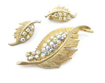 Vintage Rhinestone Leaf Brooch, Earrings Set, Aurora Borealis, Gold Tone, Clip Ons