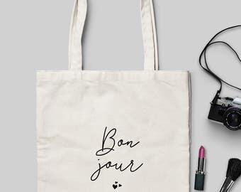 Bon Jour Tote Bag - Natural Cotton Tote Bag/Maxi Bag - Choose between 2 Models