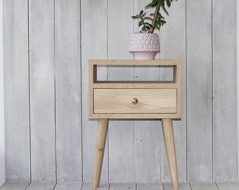 Solid Oak Bedside Table with drawer, Nightstand table, Bedroom furniture, natural wood furniture, Mid-Century, Scandinavian Style ALD-0015NO