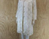 Vintage 1960's Ivory Floral Roses Satin Brocade Formal Wedding 2 Piece Sleeveless Dress Matching Coat Jacket  M / L