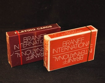 2 Decks Vintage Braniff Airlines Playing Cards. 1970's Collectible Airline Playing Cards. Factory Sealed. Never Played.