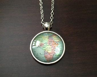 Africa map necklace, Africa necklace, Africa pendant, Africa jewelry, Africa, African, African necklace, African pendant, African jewelry