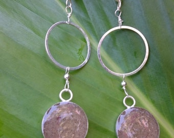 Maui sand earrings in silver bezel hung from hoops on sterling earwires
