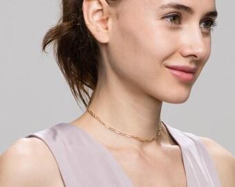 Halo Bar Chain Choker Necklace //EC1