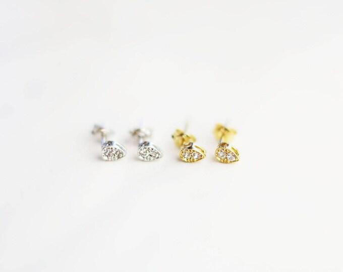 CZ Diamond Stud Earrings // Teardrop CZ Studs // Silver and vermeil earrings