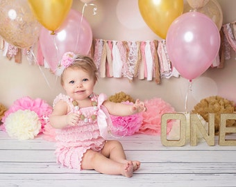 Pink & Gold First Birthday Outfit Set, Pink Petti Romper, Adjustable Headband, and matching Chunky Bead Pink and Gold Rhinestone Necklace