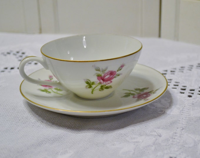Vintage Symco Rose Lea Cup and Saucer White Pink Rose Wedding China Replacement Made in Japan Bridal Baby Shower PanchosPorch