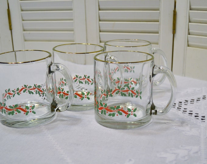 Vintage Glass Mug Set of 4 Holly Berry Ribbon Design Red Green PanchosPorch