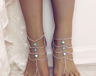 Myra Barefoot Sandals Aqua Foot Jewelry Anklet Gypsy Sandals Boho Foot Jewelry Bridesmaids gift Beach wedding sandals Bare Foot Sandals Gift