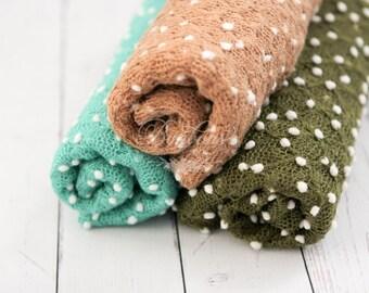 Textured Newborn Wrap; Stretch Knit Fabric Wrap; Newborn Posing Fabric; Baby Wrap; Newborn Photo Prop RTS Ready to Ship Aqua Olive Brown