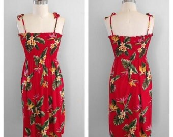 Vintage 1980s Shannon Marie Smocked Hawaiian Tropical Print Red Dress Size Medium