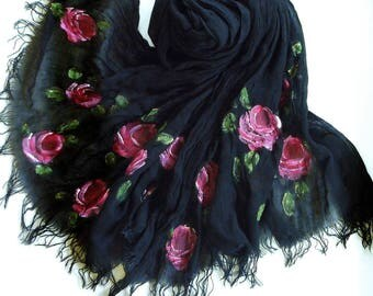 Painted Roses Black Scarf Lightweight Cotton Gauze with Fringe FREE SHIPPING
