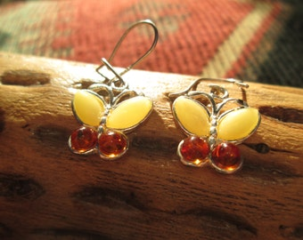 Amber Butterfly and Sterling Earrings