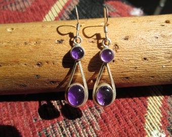 Vintage Amethyst and Sterling Dangle Earrings
