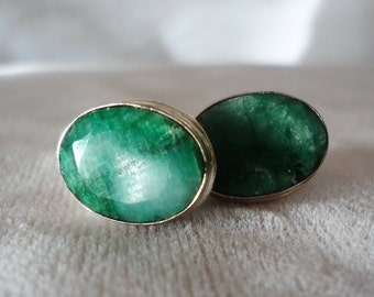 Exquisite Oval Emerald Silver Earring Stud****