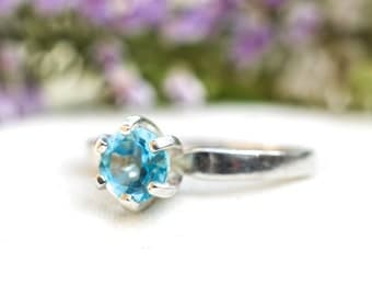 Natural Swiss Blue Topaz Ring in 925 Sterling Silver *Free Worldwide Shipping*