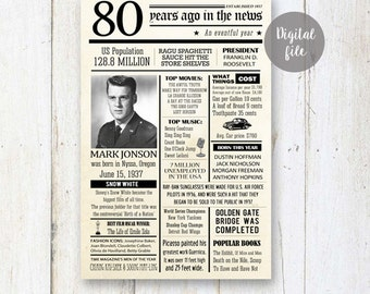 80th birthday poster - Personalized 80th Birthday Gift for grandpa dad grandparents father in law - Fun facts 1937 - DIGITAL FILE!