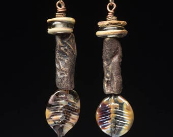 Bark and Leaf, rustic lampwork and clay tubes make earthy assemblage earrings, boho jewels of raw texture and natural colors