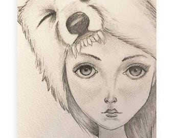 Lady Wolf Pack - Original Pencil Illustration